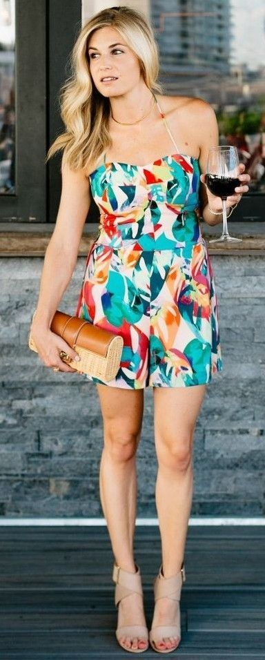 #summer #trending #style | Abstract Print Off The Shoulder Romper
