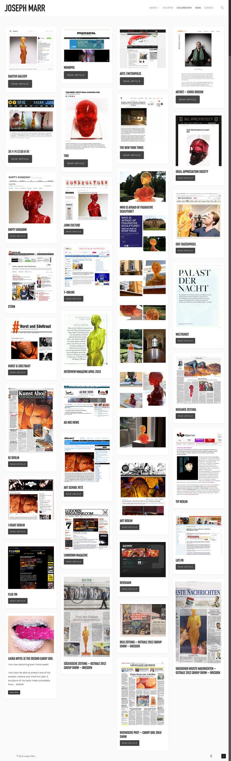New responsive website design by KORE (http://kore.digital/) for Joseph Marr fine artist, Berlin. Press page. #responsivedesign #webdesign #wordpress
