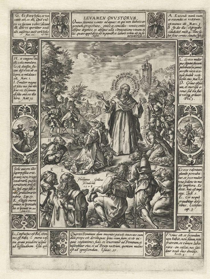 Hendrick Goltzius   Verlossing van het lijden, Hendrick Goltzius, 1578   Serie van twaalf allegorieën van het christelijke geloof. Elk van de allegorieën bestaat uit een centrale voorstelling met daaromheen een omlijsting waarin citaten uit de bijbel gecombineerd zijn met de verbeelding van bepaalde gebeurtenissen uit de bijbel.