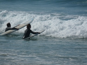Surfing is a popular pastime in the Algarve's western reaches where the wild Atlantic thunders ashore