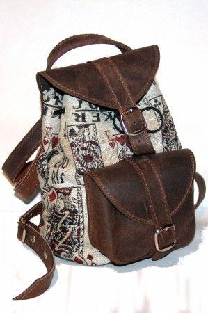 Hátitáska, hátizsák, szövet-bőr - women's bag