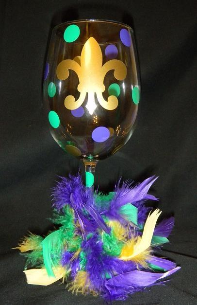 Mardi Gras wine glass