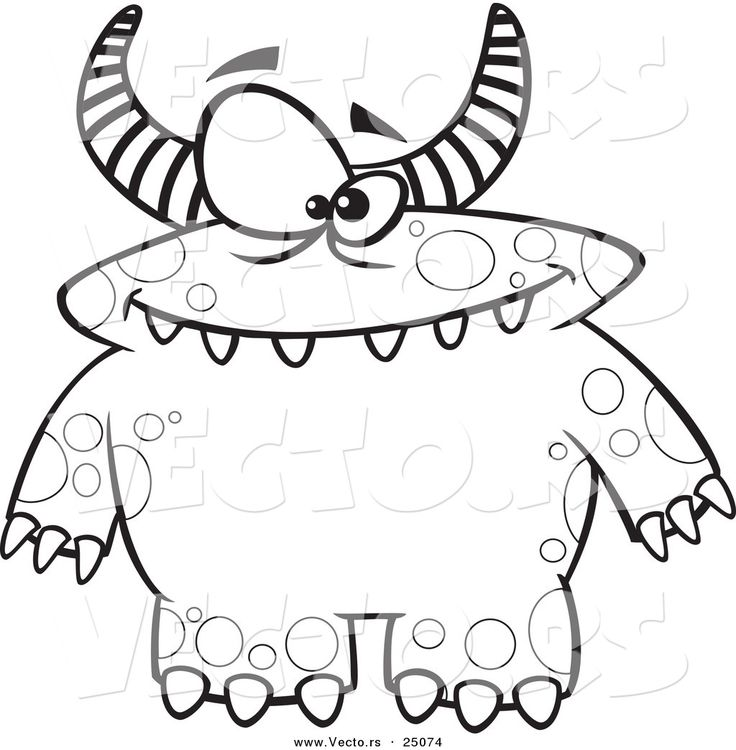 Vector Of A Cartoon Spotted And Horned Monster Outlined