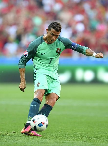 #EURO2016 Portugal's forward Cristiano Ronaldo kicks the ball during the Euro 2016 group F football match between Hungary and Portugal at the Parc Olympique...