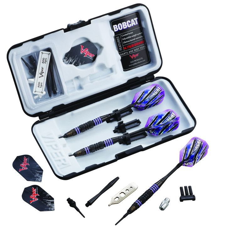 Bobcat Adjustable Soft Tip Darts Purple Rings 16-19 Grams