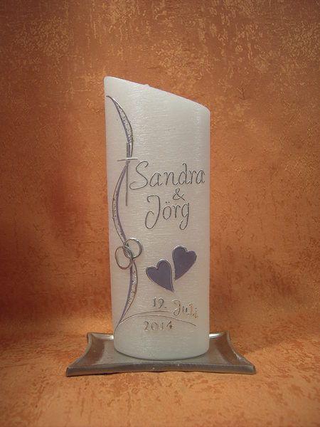 Hochzeitskerze 524 Perlmutt-Struktur von KerzenundGeschenke auf DaWanda.com