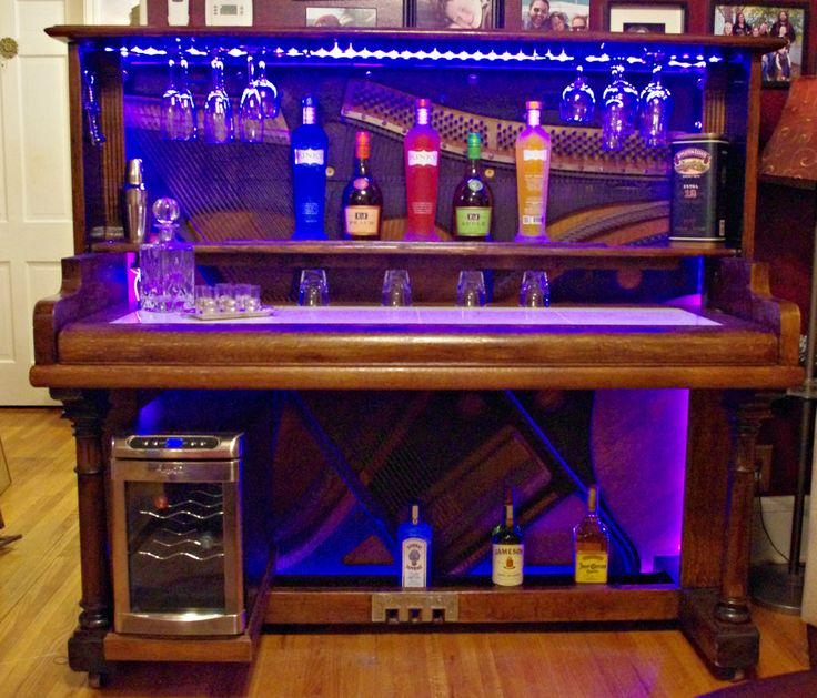 Piano Bar - Re-Purposed Upright Piano with LED Lighting and Marble Bar Top and Wine Fridge by SandmannSpecialties on Etsy