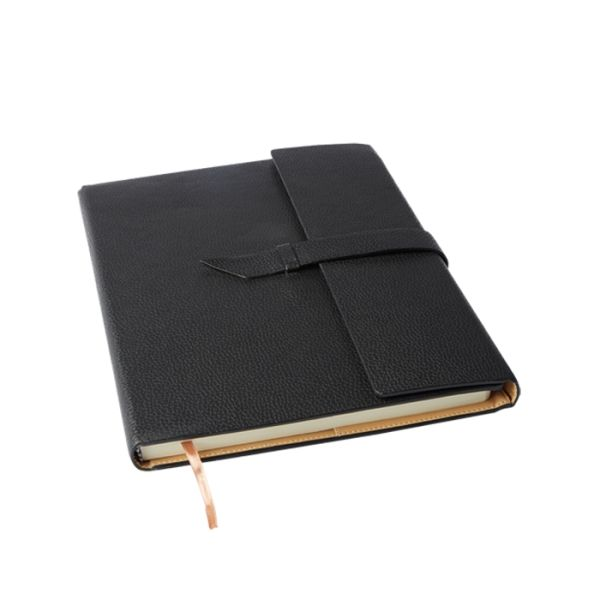 Executive A4 Notebook with Strap -High Quality PU Leather Exterior -Flap With Strap & Loop Closure -Bookmark Ribbon -144 Lined Pages -Camel Coloured Interior With Contrast Stitching