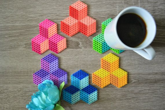 Items similar to Fuse Bead / Perler Bead Geometric Cube Coasters - Set of 4 - Housewarming Gift on Etsy