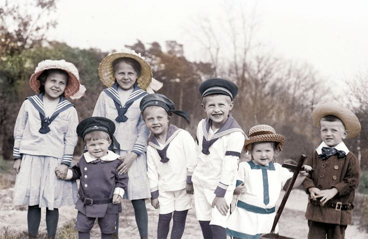 Oh goodness!  The cuteness!  Adorable Large Group of Children Sailor Outfits German tinted vintage photograph.