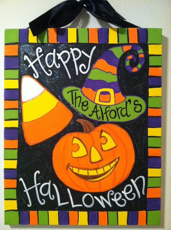 Personalized Hand Painted Halloween Canvas by FifiMarieDesigns, $40.00