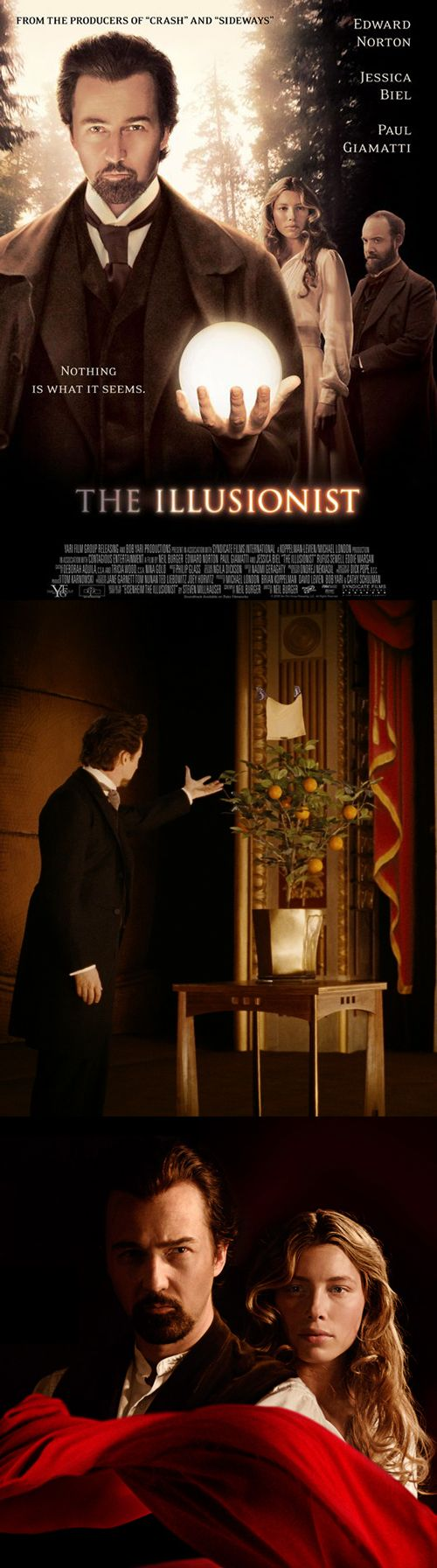 "The Illusionist (2006) • Director: Neil Burger • Writers: Neil Burger (screenplay), Steven Millhauser (short story ""Eisenheim the Illusionist"") • Stars: Edward Norton, Paul Giamatti, Jessica Biel"