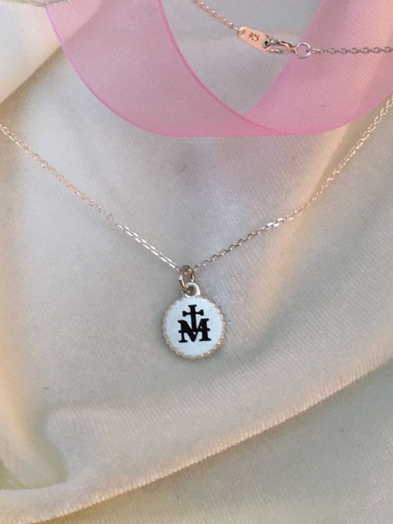 Marian Milgrain Cross Black necklace, RCIA,First Communion,Confirmation, Dainty necklace, Personalized necklace, Baptism, Friendship,Promise