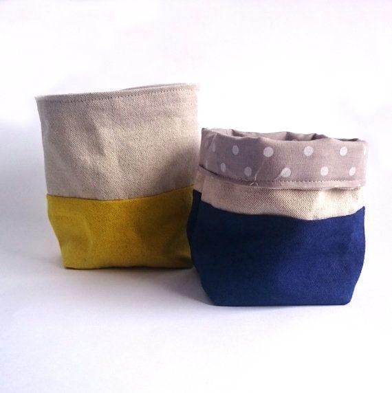 Ensemble de tissu deux strorage bacs/tissu planteur/tissu panier/boîte/pépinière stockage / tissu peint à la main contenant/organisateur
