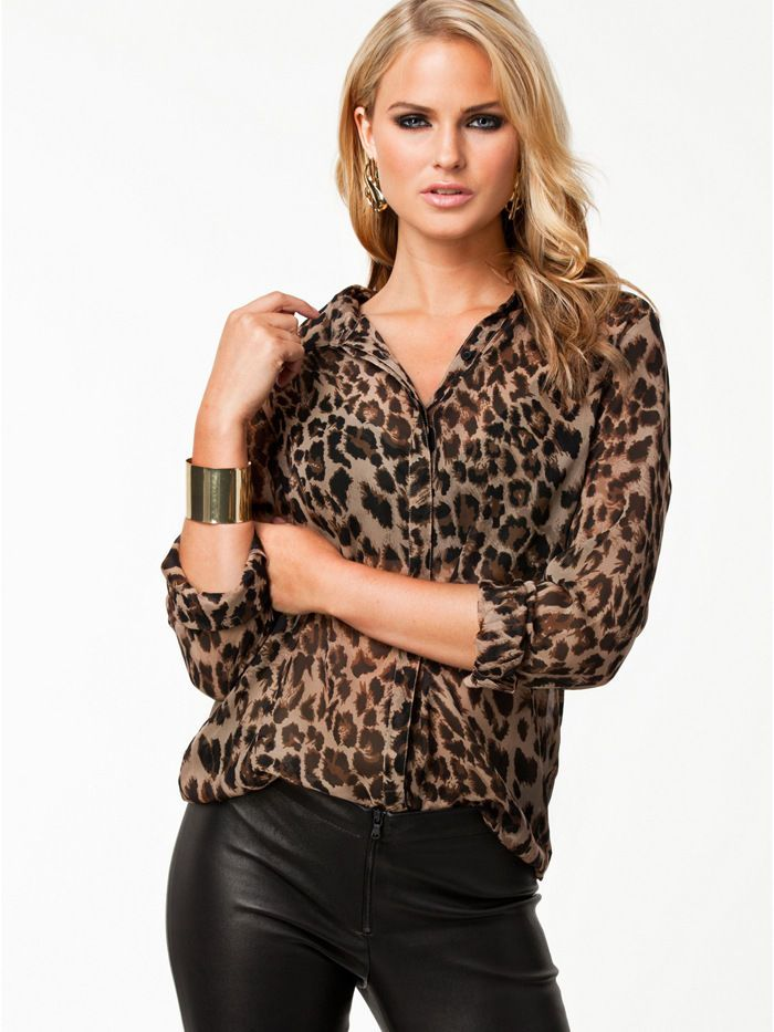03e4f48088690b Hotsell Womens Leopard Print Long Sleeve Button Down Chiffon Blouse Shirt  Tops