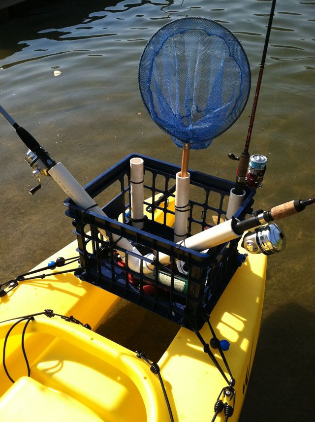 temporary rigging of fishing kayak with crate