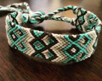 This might be the coolest thing I've ever made! Perfect for summer. $20    Large Friendship Bracelet, Woven Bracelet with Tribal Design, Thick Aztec Bracelet, Chunky Handmade String Bracelet, Stackable bracelets