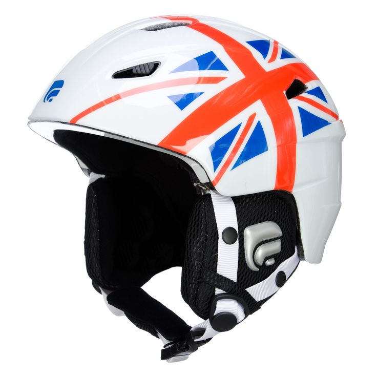 Cairn Profil ski helmet, shiny white/ british Ski helmet made with In-mold technology and a design look This ski helmet has the looks of a design helmet, but has the technology of a safe helmet, because of the In-mold construction. The inside of the helmet has a hypoallergenic velvet padding, which is removable and washable.   The ski helmet is adustable, you can fit it easily to your headsize. The ventilation is adustable, so the temperature keeps comfortable. Are you ready to stay cool in…