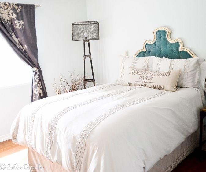 vintage pink velvet tufted headboard bed navy blue wingback upholstered