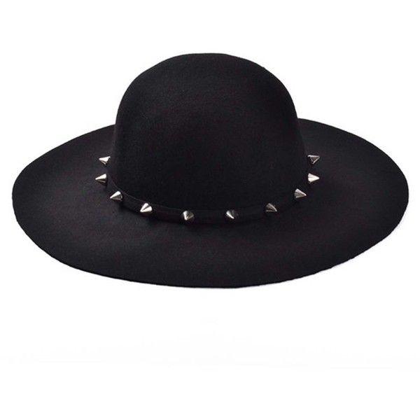 ZLYC Women Fashion Stud Wool Felt Wide Brim Fedora Bowler Hat Floppy... ($25) ❤ liked on Polyvore featuring accessories, hats, black, hair, fedora hat, felt fedora hat, wide brim floppy hat, wool hat and derby hats