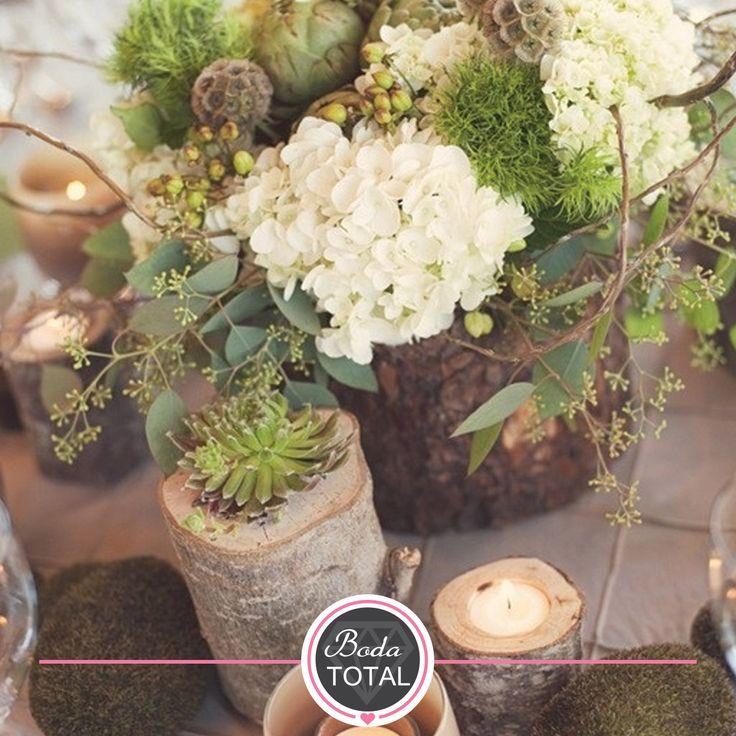 Elegiste un estilo rústico para tu boda? los troncos con flores ...