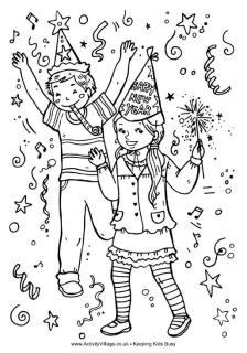 Nieuwjaar kleurplaat, kinderen Oud en Nieuw vieren