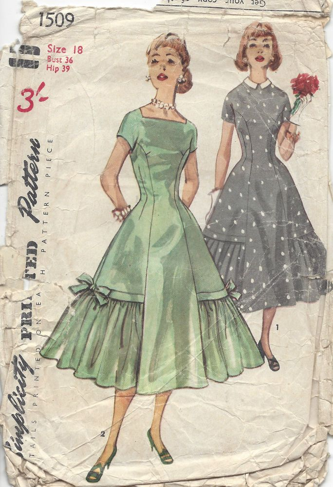 1956 Vintage Sewing Pattern B36 DRESS (1096)
