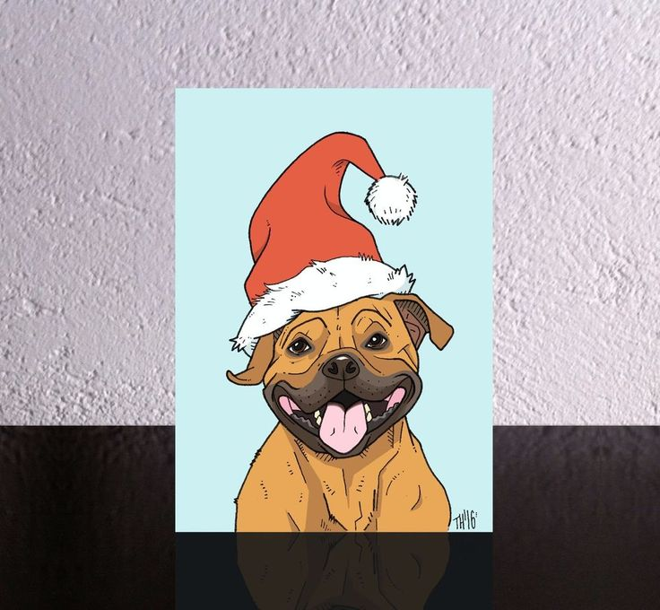 4 Dog Christmas Cards a Staffordshire Bull Terrier in a Santa Hat. Xmas Staffie.