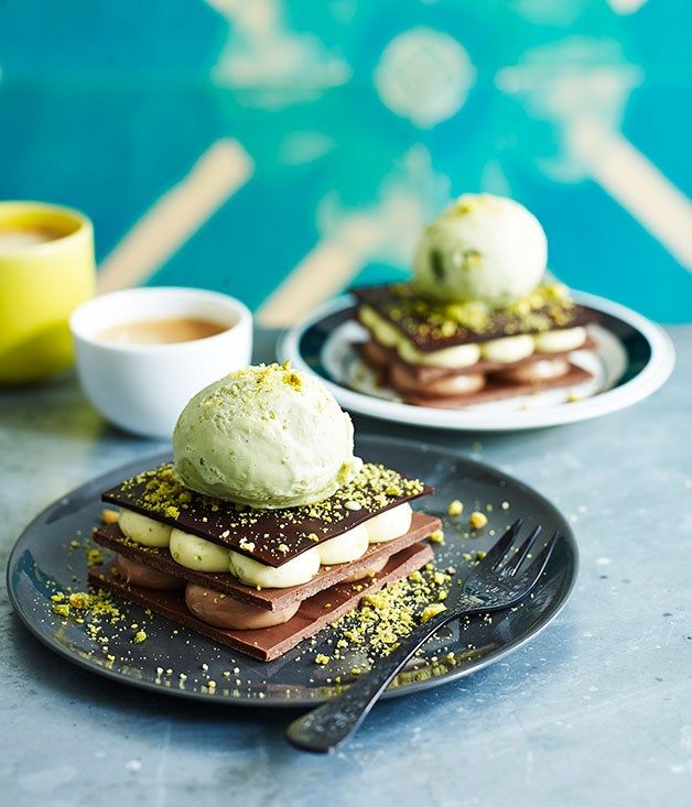 Grilled pistachio and chocolate millefeuille recipe | Rockpool Bar & Grill recipe - Gourmet Traveller