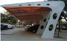Solar carports take advantage of large, previously unutilized land areas that will now generate energy, provide shading and protection while still allowing light to penetrate. The carport designs enhance and add value to the parking spaces.
