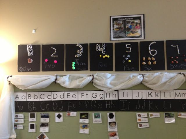 I recently had the pleasure of meeting a wonderful Reggio inspired teacher, Mrs. Foshee. Her room was fab! Here is a sneak peek: Here is her number line. Love, love it! The number is constructed out of tacks and yarn. Love the nature items. The letters were created from twine. Isn't this a grand calendar?! …