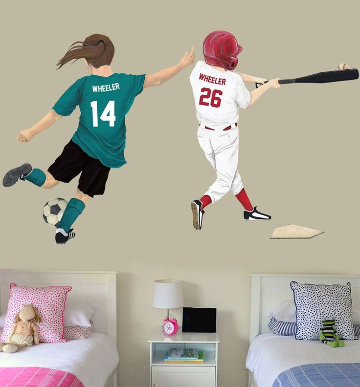 Wall Decals! Design An Image Of Your Child Playing Their Favorite Sport And  Then Hang