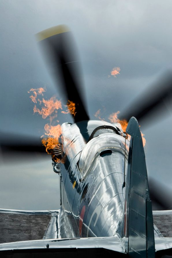 "That's why they call it a Spitfire!  Actually, the guns would ""spit fire"".  The engine only did this during startup."