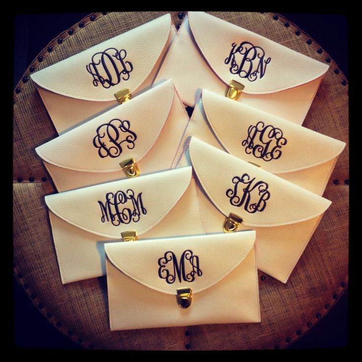 Bridesmaid Gift Set of NINE (9) Monogrammed Bridesmaid Clutches by CreeksideHomeGarden on Etsy https://www.etsy.com/listing/229190494/bridesmaid-gift-set-of-nine-9