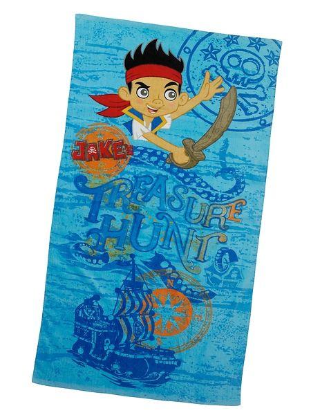 Jake-pyyhe Lähde Jaken kanssa rannalle aarrejahtiin! Pyyhkeen koko 75 x 150 cm. 100 % puuvillaa