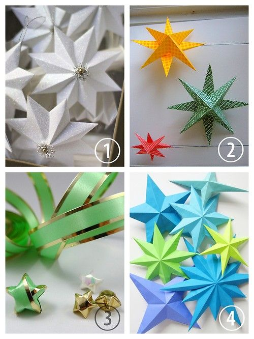 DIY 4 Paper Star Tutorials. DIY Paper Star Tutorial and Template from Urban Comfort here. DIY Simple Paper Star Tutorial from annekata here. DIY Folded Lucky Star Tutorial from All Things Paper here. You can use ribbon or paper. DIY 4, 5, 6, 7 or 8 Point Paper Stars Tutorial and Templates from How Did You Make This? here. Not pictured a 12 point star tutorial and template here.