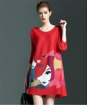 Cartoon Print Ribbed Mini Dress