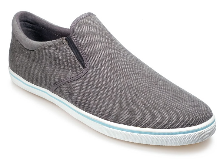 """Pod boys' """"Jetty"""" canvas shoe in Charcoal. High quality canvas uppers, elasticated sides and a baby blue sole accent. Perfect for summertime!"""