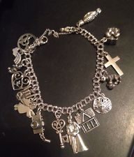 Lovely JAMES AVERY STERLING SILVER 925 Double CURB BRACELET W/ 15 CHARMS Retired