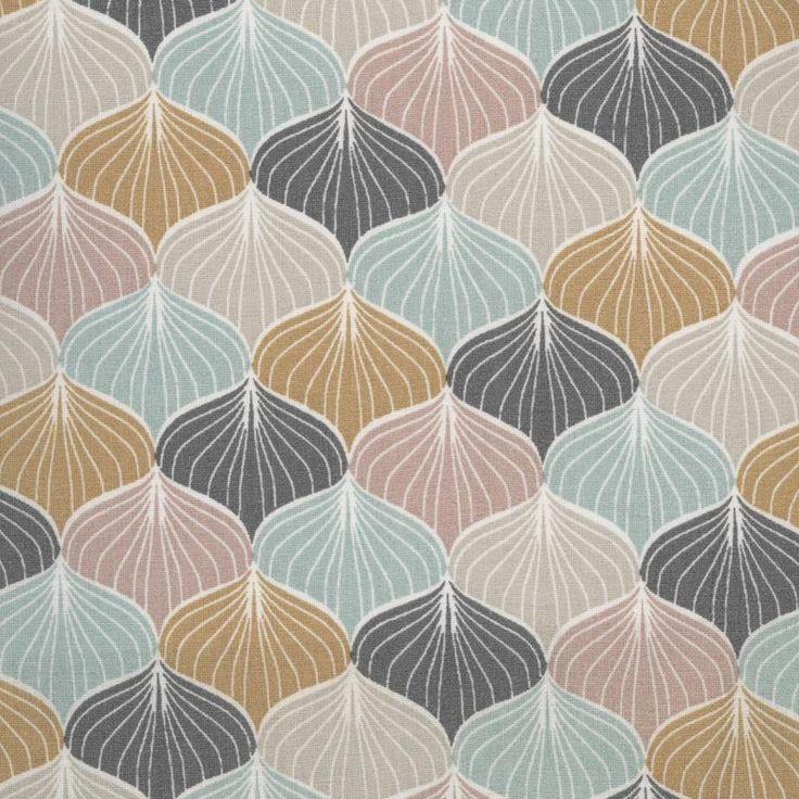 Toile cirée a motif sur fond gris anthracite, rose poudré, moutarde et bleu pastel