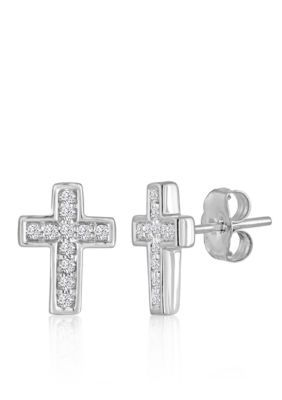 Belk & Co.  1/8 Ct. T.W. Diamond Cross Earrings Set In 10K White Gold - Silver - One Size