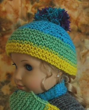 Garter Stitch Hat with pompon - Made from sock yarn