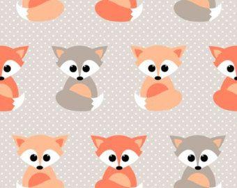 Baby Crib Sheet / Nursery Toddler Bedding - Little Fox Print Contemporary Premium Designer Fabric in Orange Grey