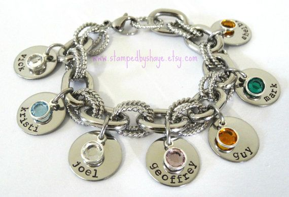 Charm Bracelet Mother's Bracelet Birth Stone Hand Stamped Personalized Chunky Link Stainless Steel. Awesome gift idea