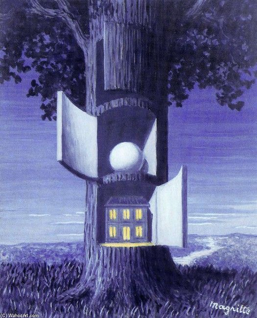 the surreal quality of this painting draw me with all the doors that open up and create space for other odd things such as a round ball and a random house. again love the blue color palette.