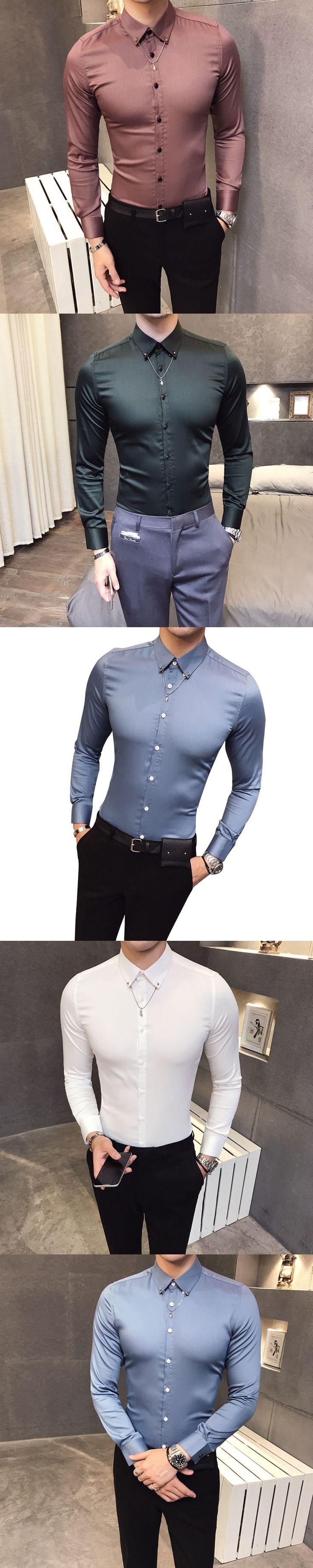 2017 Mens Silk Shirts High Quality Blue Mens Shirts Casual Slim Fit Luxury Shirts For Men Green Dress Shirts Wedding Social Club
