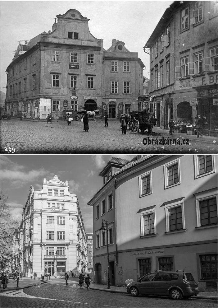 Roh ulic Dlouhá a Masná. Pivovar / Dům U Zlaté štiky
