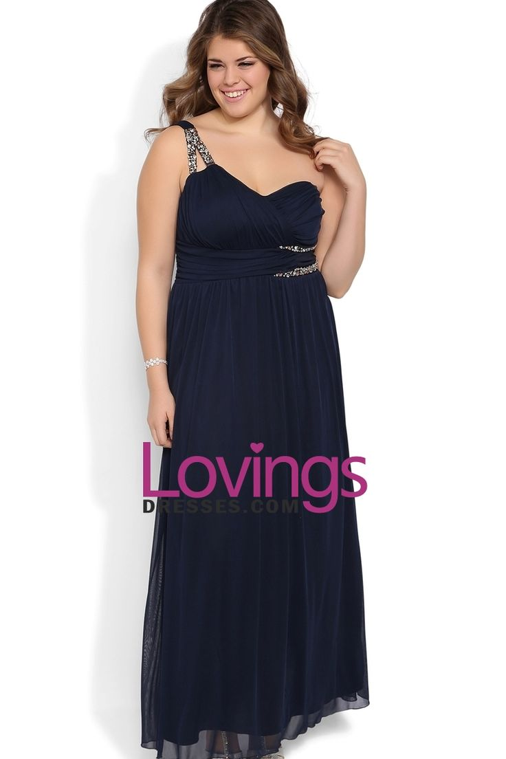 Plus Size Long Prom Dress With One Shoulder Double Stone Strap Chiffon