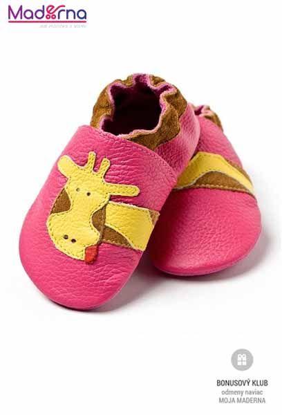 Liliputi capačky pre deti ružové so žirafou- MADERNA