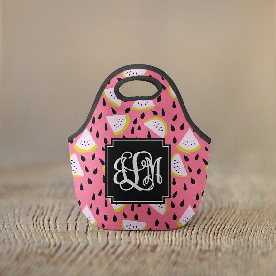 Personalized Lunch Bag Watermelons by PreppyPinkPineapples on Etsy